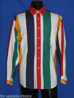 Vintage Men Tommy Hilfiger Color Block Striped Shirt Sz L Red Green Yellow Blue