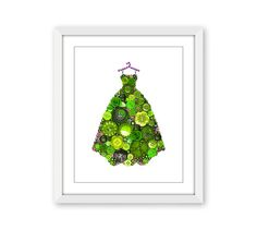 Light Green Gown Fashion Print  Girls Room by PaintedWithButtons