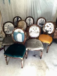 Eclectic Decor: Eclectic set of dining chairs upholstered with velvet and leather on french louis xvi accent side chairs animal print woodland gold decor Funky Furniture, Furniture Makeover, Painted Furniture, Furniture Design, Green Furniture, Furniture Showroom, Distressed Furniture, Unique Furniture, Pallet Furniture