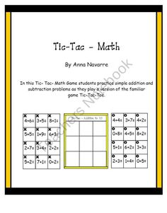 Tic-Tac-Math Game product from Mrs-Navarres-Shop on TeachersNotebook.com
