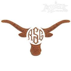 """Texas Longhorn Monogram Frame Embroidery Design. Two designs in Three Sizes to fit our 1"""" 2"""" and 3"""" circle fonts."""