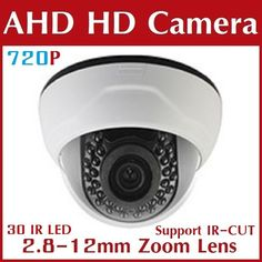 "Good price CCTV HD AHD Indoor CAMERA 30 IR Color 1/4 ""CMOS Sensor 720P 1000TVL Security Cameras with IR-CUT Zoom Lens Free Shipping (Default) best buy"
