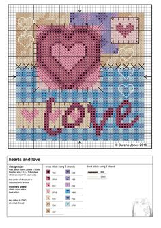 Credited to Durene Jones Just Cross Stitch, Cross Stitch Heart, Cross Stitch Cards, Cross Stitch Kits, Counted Cross Stitch Patterns, Cross Stitch Designs, Cross Stitching, Cross Stitch Embroidery, Wedding Cross Stitch Patterns