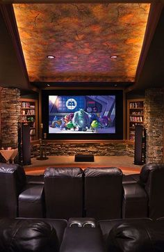 in nikkis house Home Theater. her house has 6 floors. but its not like a sky scraper. this is on the floor up from the basement the one under the main floor. thes also a wine celler under the house design home design design decorating Movie Theater Rooms, Home Theater Seating, Cinema Room, Home Theater Design, Theatre Rooms, Home Theatre, Dream Theater, Home Entertainment, Entertainment Fireplace