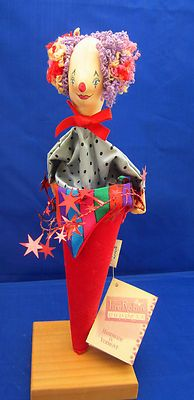 Firerobin Cone Puppet Clown Dowel Holder Stand Colorful Hair Costume Red Stars | eBay