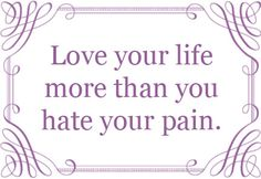Love your life more than you hate your pain.