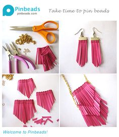 DIY Fringe Earrings & Necklace - bright fuschia, cool leather finge, plus metal chain make you gorgeous. Tools and Materials for Earrings & Necklace: Faux-leather fringe,Ribbon crimps, Earring hooks, mental chain.