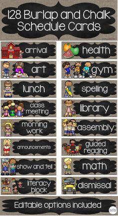 This Schedule Cards Pack includes TWO versions with a burlap and chalk theme. 128 non-editable schedule cards & 128 which are editable including one which is completely blank for customization. Choose which one will work best for your classroom. Daily schedules are designed to provide structure and accountability for students, yet allow freedom and flexibility. Print, laminate, and learn!