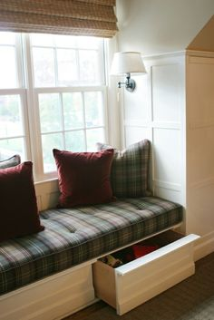 window seat storage bench cushion images | Comfy window seat with cushion, pillows, arm sconces flanking each ...