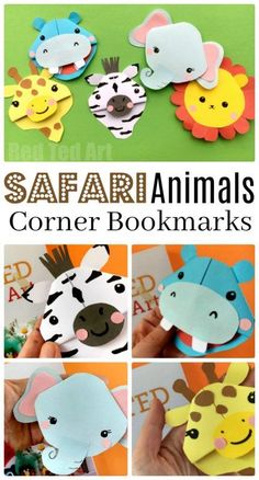 Safari Animal Bookmarks - if you love wild animals.. you will LOVE these Safari Animal Corner Bookmarks. We took 5 of the best African Animals - Lion, Zebra, Elephant, Hippo and Giraffe and turned them into adorable Corner Bookmarks. So if you are looking