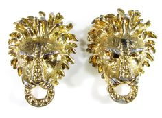 Gold Tone Shoe Clips with Lion by Bluette in France