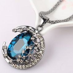 $5.27 Vintage Colored Faux Crystal Embellished Crescent Sweater Chain Necklace For Women
