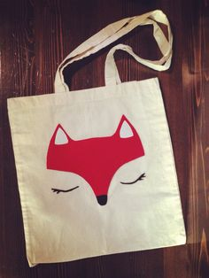 Handmade fox tote bag