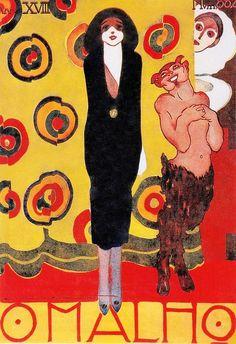 O MALHO 9 August 1919 xover by Emiliano di Cavalcanti. From Art Deco 1910-1939 Charlotte & Tim Brenton (2003) (please follow minkshmink on pinterest) #jazzera