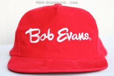 046cfc9937d Items similar to Red Corduroy Vintage Snapback Hat - Bob Evans on Etsy
