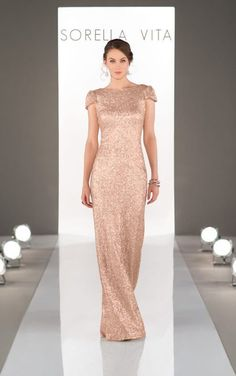 MODERN SEQUIN BRIDESMAID DRESS A modern update to the classic sequin dress, this bridesmaid gown is simply elegant. Made of gorgeous matte sequin fabric, this dress was made for an elegant affair. Blending together a unique. Metallic Bridesmaid Dresses, Sorella Vita Bridesmaid Dresses, Gold Bridesmaids, Bridesmaid Dress Styles, Bridesmaid Ideas, Essense Of Australia, Sequin Gown, Sequin Fabric, Gold Gown
