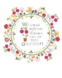 CbyC Studio Original Illustration   Flower Circle Garden Quote  -  Limited Edition Print