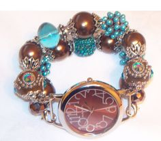 Brown and Turquoise Beaded Watch Band and Face  by BeadsnTime, $30.00