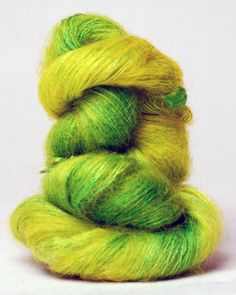 haiku (alchemy) yarn -  color is Sour Grass content: 40% silk, 60% kid mohair weight: 25 grams length: 325 yards gauge: 5 stitches per inch suggested needles: US size 7 (4.5 mm); Hook size 7 $25.25