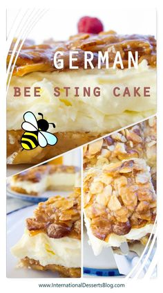 "Authentic Bienenstich Kuchen (German Bee Sting Cake Recipe) This authentic German ""Bee Sting"" cake recipe is one of my all time favorites! It's an easy traditional cake to make. You'll love the honey almond topping and the creamy pastry cream filling! Dessert Blog, Dessert Cake Recipes, Easy Desserts, Delicious Desserts, Desserts With Honey, Honey Dessert, Traditional German Desserts, Traditional Cakes, Bienenstich Cake"