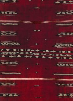 Africa | Detail from a woman's cover ~ bakhnouk ~ from the Djlass Berber people of Tunisia | Wood and cotton, supplementary patterning | Early 20th century