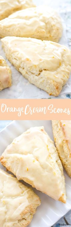 These flaky orange cream scones are packed with fresh orange flavor, and are topped with a sweet homemade orange glaze! This homemade scone recipe is so simple and is one of the best brunch recipes!