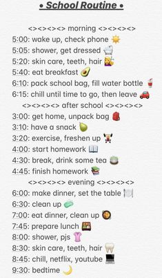 School Routine For Teens, Morning Routine School, Morning Routine Checklist, School Checklist, School Routines, Routine Planner, School Schedule, School Essentials, Life Hacks For School