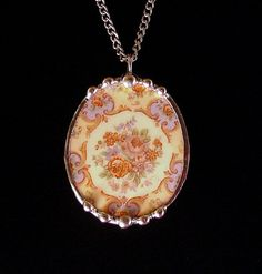 Broken china jewelry Parisian roses oval necklace pendant made from a broken plate vintage china
