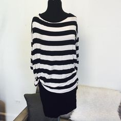❗️️️️️️️LAST CHANCE Saks Fifth Ave Striped Dress! ❗️️️️️️️LAST CHANCE Bailey 44 from Sals Fifth Avenue Striped black & White Shift Dress. Retails $188! Very stretchy with black and white overlay and tied at waist. All one piece dress. Good used condition, slight piling. Size small. I consider all strong offers so feel free to make an offer & it's yours! Snatch it up before someone else does! ASAP shipping! Extra 30% off on bundles! Suggested User  Bailey 44 Dresses