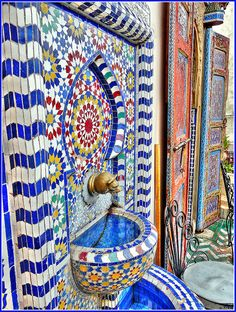 Blue fountain Morocco
