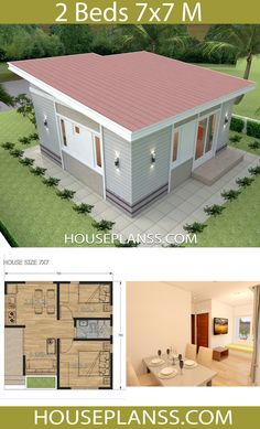 Small House Design Plans 7x7 with 2 Bedrooms - House Plans Sam