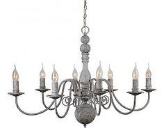 Landelijke Hanglamp Kroonluchter Grijs Ovaal 90x62cm 8 lampjes