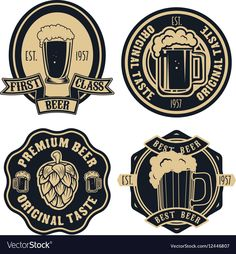 Beer labels Vintage craft beer retro design vector image on VectorStock Beer Logo Design, Beer Label Design, Design Logos, Pub Logo, Sous Bock, Craft Bier, Craft Beer Labels, Beer Art, Beer Brands
