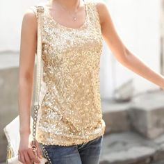 A 5 !!  Gold Sequined Tank New! Beautiful gold sequins. Back is tight mesh of stretchy cotton/spandex. Beautiful top!!  Boutique Tops Tank Tops