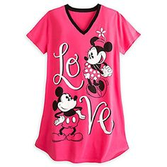 Disney Store Minnie Mickey Ladies Nightshirt Nightgown Love Red XS S M L XL XXL XSS *** You can get additional details at the image link.