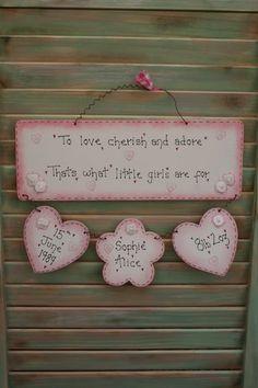 Personalised New Baby Girl Gift - Wooden Sign, Plaque, Handmade Keepsake £22.00