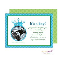 Sonogram (or any photo) Prince Baby Shower Invitation in Teal & Lime From Little Angel Announcements