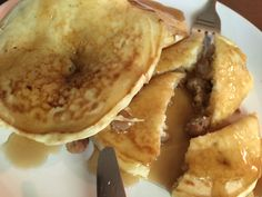 Sausage crumble infused pancakes, made by Bonnie.  September 2016.