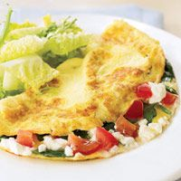Spinach, Feta, and Tomato Omelet - Brunch Recipes - Good Housekeeping