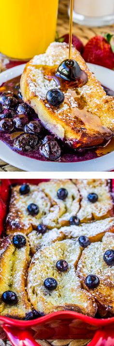 Overnight Blueberry French Toast Casserole! This is basically blueberry pie topped with French Toast. Bring it ON.
