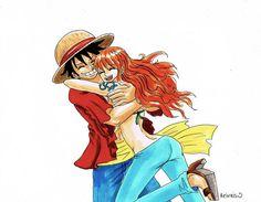 Luffy looks a bit weird.< Characters: Monkey D Luffy, Nam. luffy x nami One Piece Ship, Nami One Piece, One Piece Manga, Gurren Laggan, Luffy X Nami, Scott Pilgrim, One Piece Fanart, Monkey D Luffy, Anime Art Girl