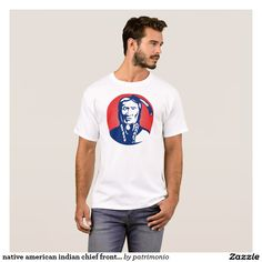 native american indian chief front view T-Shirt. Men's t-shirt with an illustration of a Native American indian chief facing front set inside a circle done in retro style. #nativeamerican #indianchief #tshirt