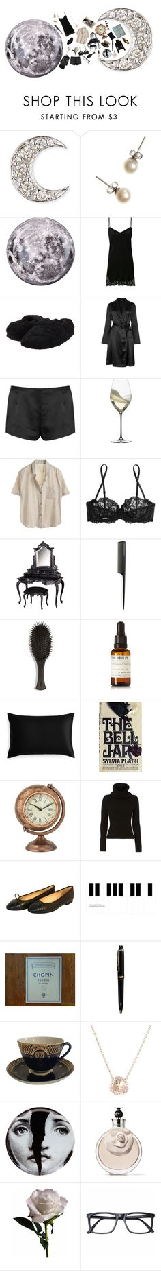 """""""Crescent Moon night."""" by ladyofthelastcentury ❤ liked on Polyvore featuring Sydney Evan, J.Crew, Diesel, La Perla, Acorn, Riedel, GHD, Oribe, Le Labo and Slip"""
