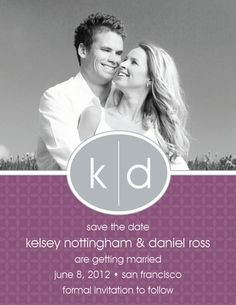 Purple Oval Monogram Photo Save The Date Cards
