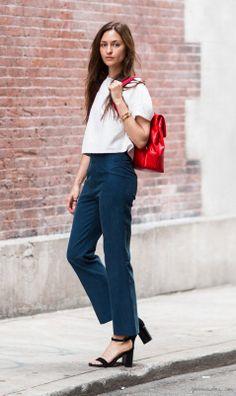 Red backpack, high waist wide leg jeans, white crop top, black ankle strap sandals/ Garance Doré