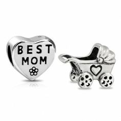 Baby Carriage Best Mom Heart Bead Set 925 Silver Pandora Compatible