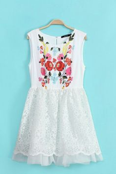White Embroidered Sleeveless Organza Flowers Print Dress