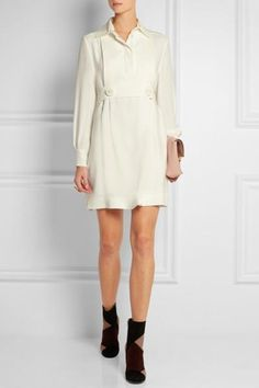 Fendi|Belted silk-cady mini dress|NET-A-PORTER.COM #casuallook #silkdress #fendi #women #designer #covetme