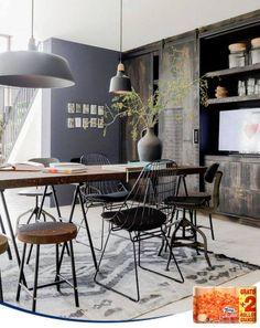 El estilo industrial cada vez tiene más adeptos. Sillas y mesas de metal, y tonos marrones y metálicos pueden dar a tu hogar un toque moderno y original. (Imagen: BintiHome)