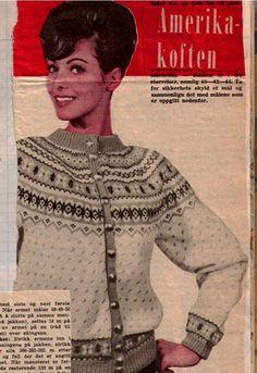 "svanedal ullvarefabrikk kofte ""The America cardigan"" Knitting Yarn, Hand Knitting, Knitting Patterns, Knitting Projects, Crochet Patterns, Knitting Ideas, Nordic Pullover, Nordic Sweater, Fair Isle Chart"